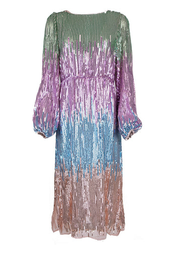 Rent RIXO Rainbow Sequin Midi Dress from Rotaro