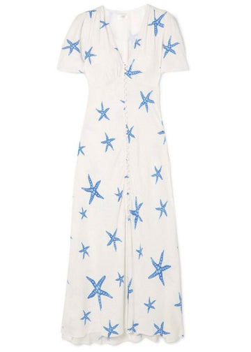Rent RIXO Printed Crepe Midi Dress | RRP £275 from Rotaro