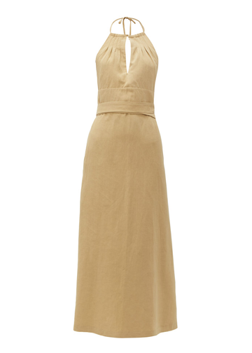 Rent RAEY Split-Front Halterneck Silk Linen Blend Midi Dress from Rotaro