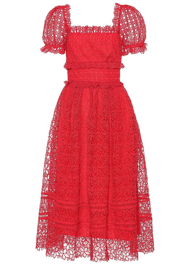 Rent Self Portrait Red Guipure Lace Midi Dress from Rotaro