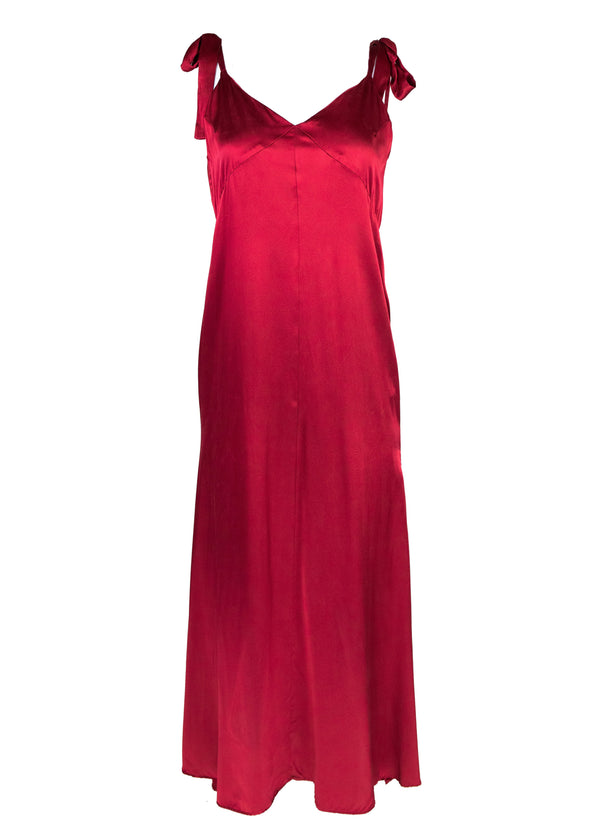 Rent Reformation Red Silk Shoulder Tie Maxi Gown from Rotaro