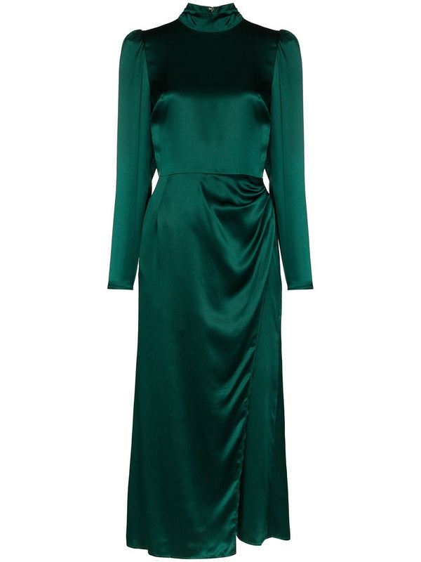 Rent Reformation Emerald Green Silk Gathered Midi Dress from Rotaro