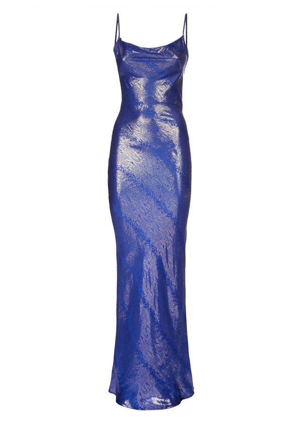 Rent Rat & Boa Sapphire Silk Blue Snake Print Maxi Dress from Rotaro