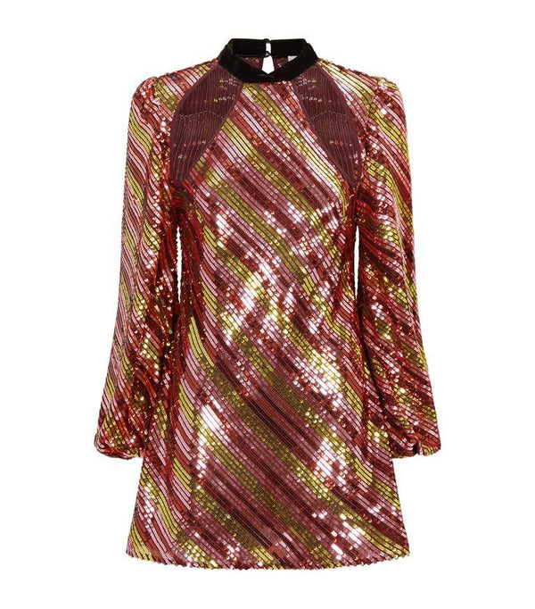 Rent RIXO Bronze Sequin Mini Dress from Rotaro