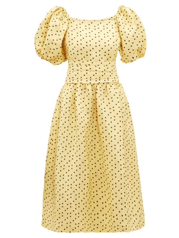 Yellow Polka-Dot Wrap Dress