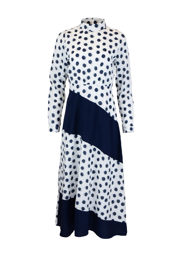 Rent Ghospell Polka Dot Block Midi Dress from Rotaro