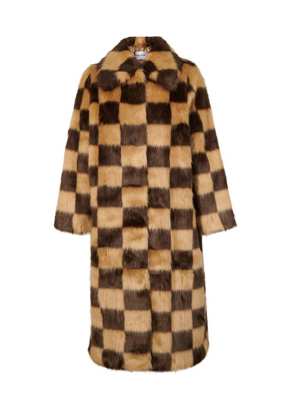 Rent Stand Studio Brown Checked Faux Fur Coat from Rotaro