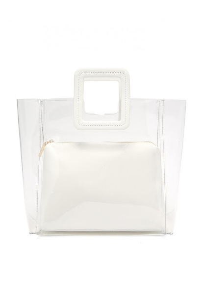 Rent Staud White Leather And PVC Tote Bag from Rotaro