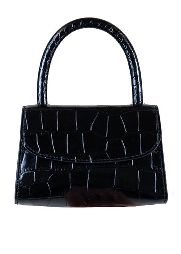 Rent By Far Black Small Croc Effect Tote from Rotaro