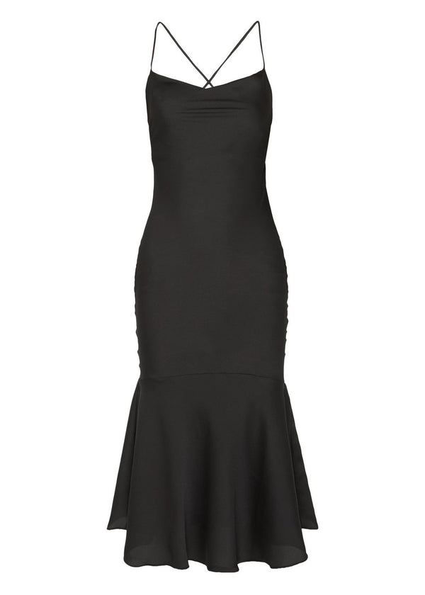Rent The Line By K Black Tie-Detailed Satin Midi Dress from Rotaro