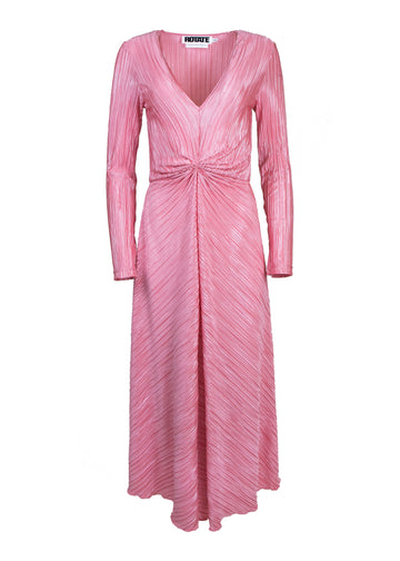 Rent ROTATE Birger Christensen Pink Plissé Midi Dress from Rotaro