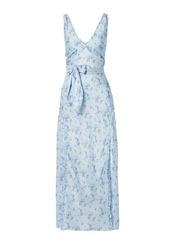 Rent Love Shack Fancy Light Blue Floral-Print Silk Satin Maxi Dress from Rotaro