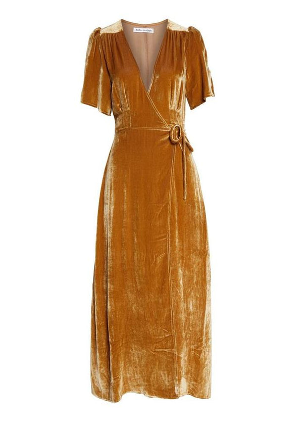 Rent Reformation Gold Velvet Midi Wrap Dress from Rotaro
