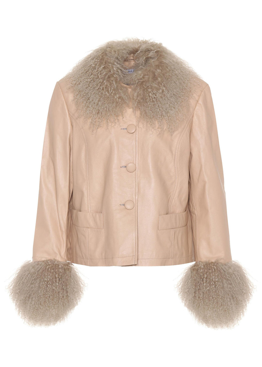 Rent Saks Potts Tan Shearling Trimmed Leather Jacket from Rotaro