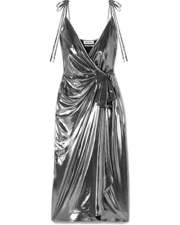 Rent Attico Gathered Metallic Silver Lamè Wrap Dress from Rotaro