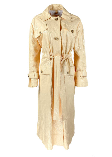 Rent Rejina Pyo Yellow Crinkle Effect Belted Coat from Rotaro