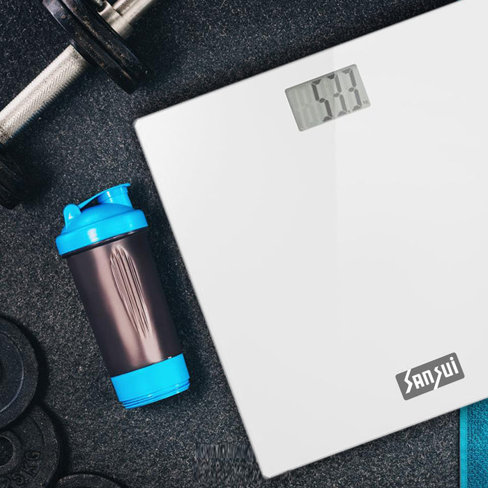 Sansui Digital Personal Human Body Weighing Scale, Bathroom Weight Machine with Large LCD Display (150 kg, White)