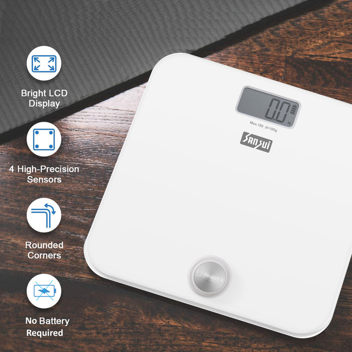 Sansui Electronics Battery-free Digital Bathroom Body Weighing Scale (180 kg, White)