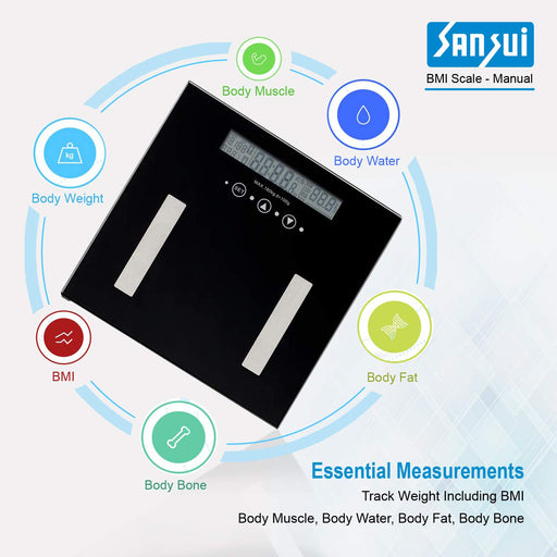 Sansui Electronics Body Fat Analyser Personal Weighing Scale, Easy Manual Operation (180kg, Black)