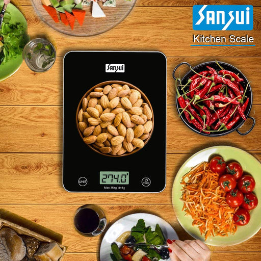 Sansui Electronics Flat Panel Electronic Digital Kitchen Scale Weighing Machine (15 kg, Black)
