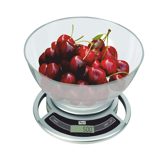 Sansui Electronic Digital Plastic Kitchen Weighing Scale Machine with Bowl (Silver)-5 kg