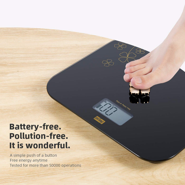 Personal Scale - Battery Free - Golden Button - Black