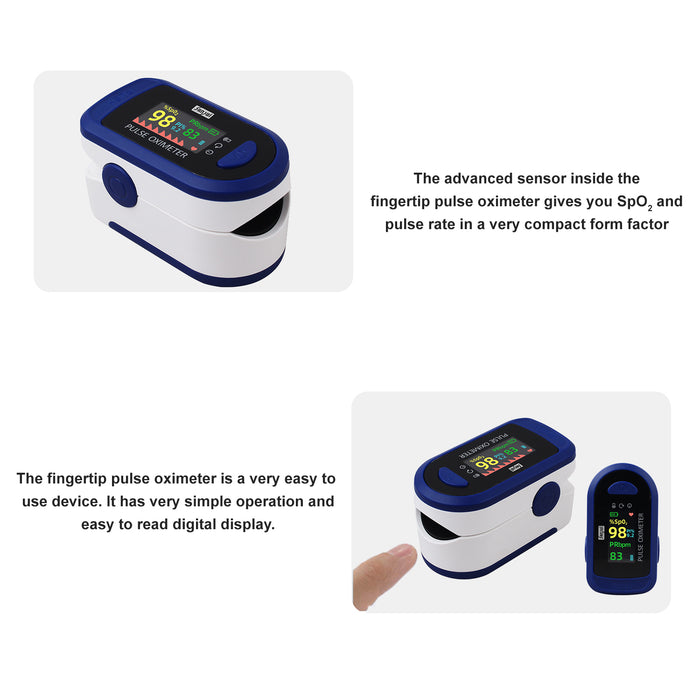 Sansui Digital Fingertip Pulse Oximeter with Visual Alarm (Made in India) (Deep Blue)