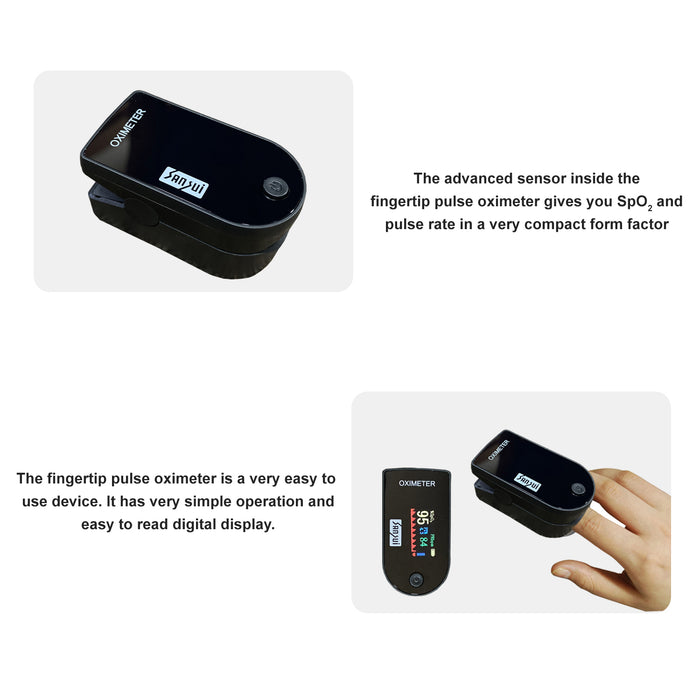 Sansui Digital Fingertip Pulse Oximeter with Visual Alarm (Made in India) (Black)