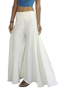Tropic Bliss Women's Wide Leg Organic Cotton Palazzo Pants, Fair Trade (XS, Ivory)