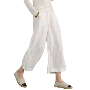 Ecupper Womens Casual Loose Plus Size Elastic Waist Cotton Trouser Cropped Wide Leg Pants White, 3XL(US 18 )