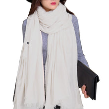 Load image into Gallery viewer, Iristide Womens Long Scarf in Solid Color, Light Weight Large, White, Size Large