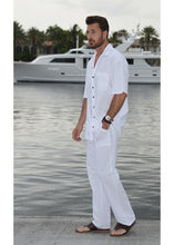 Load image into Gallery viewer, Men Casual Beach Trousers Cotton Elastic Waistband Summer Pants (White, Medium)