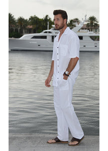Men Casual Beach Trousers Cotton Elastic Waistband Summer Pants (White, Medium)