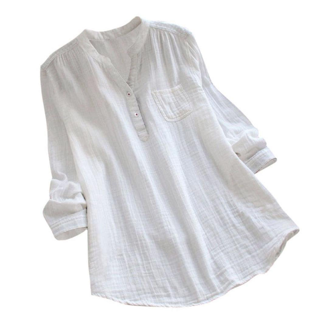 Rambling New Women Stand Collar Long Sleeve Casual Cotton Loose Soft Tunic Tops T Shirt Blouse Plus Size White
