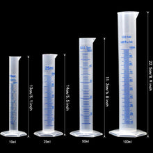 Load image into Gallery viewer, APLANET 4 Transparent Plastic Graduated Cylinders, 10ml, 25ml, 50ml, 100ml, with 5 Plastic Beakers and 1 Test Tube Brush, Ideal for Home and School Science Lab