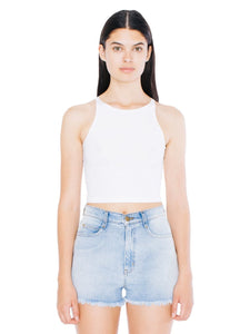 American Apparel Women's Cotton Spandex Sleeveless Crop Top, White, Medium