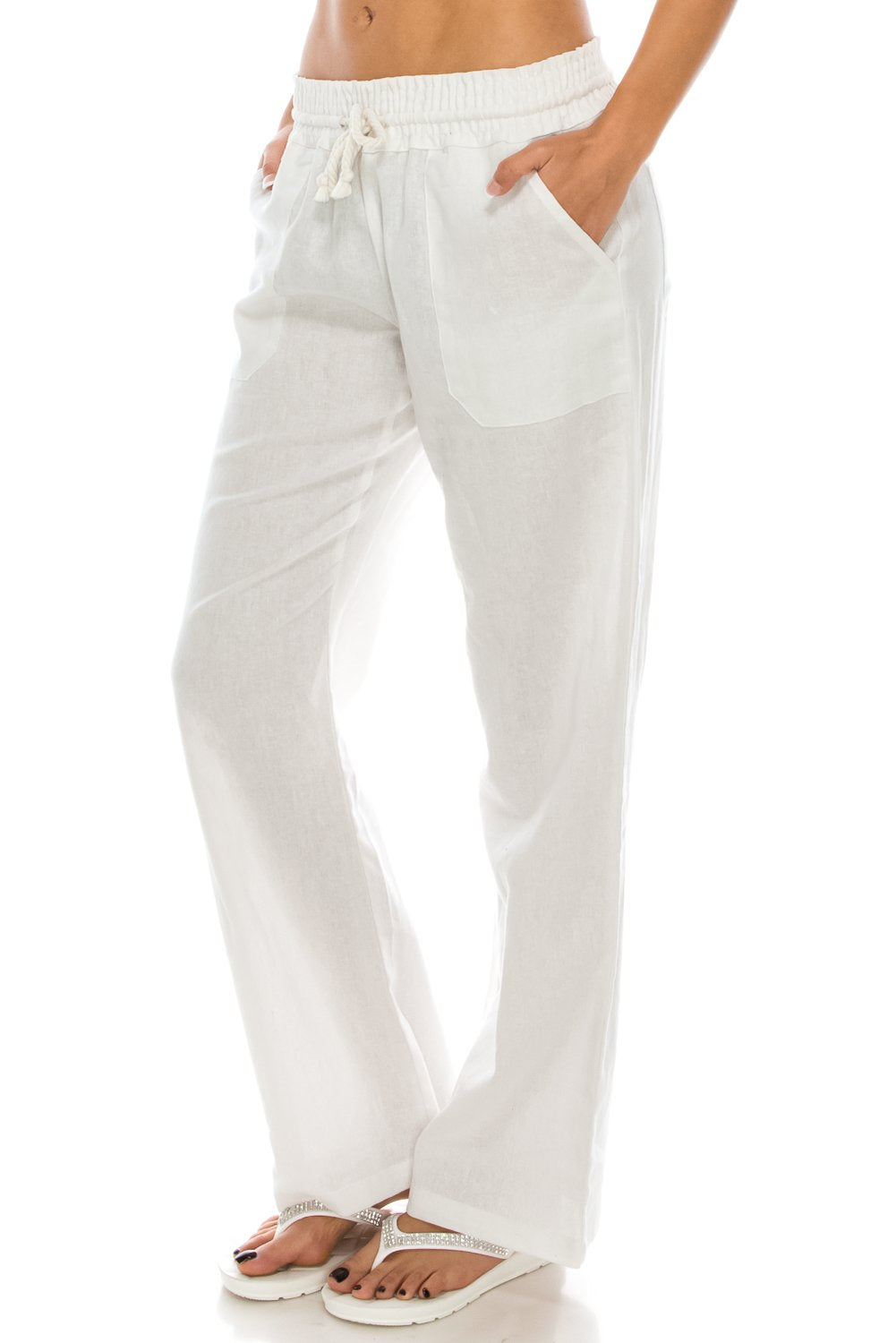 Poplooks Women's Beachside Soft Palazzo Style Linen Pants (Medium, White)