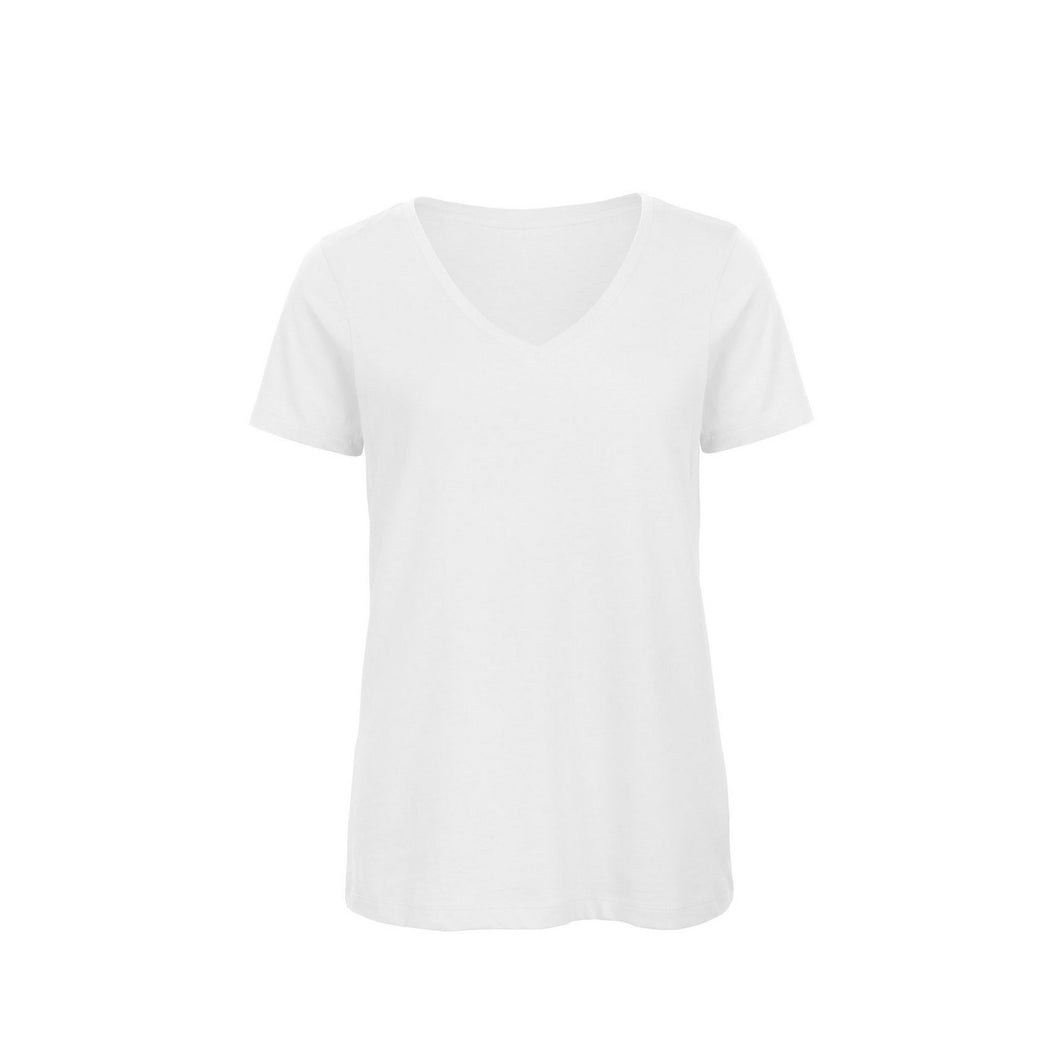 B&C Womens/Ladies Favourite Organic Cotton V-Neck T-Shirt (S) (White)