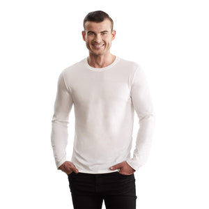 TRUTH ALONE Men's Long Sleeve Crew Tee, 100% Organic Peruvian Pima Cotton (White, S)