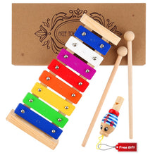Load image into Gallery viewer, WEfun Xylophone for Kids,Wooden Musical Toy with Clear Tuned Metal Keys,2 Child-Safe Plastic Mallets and a Whistle for Music-Making Fun