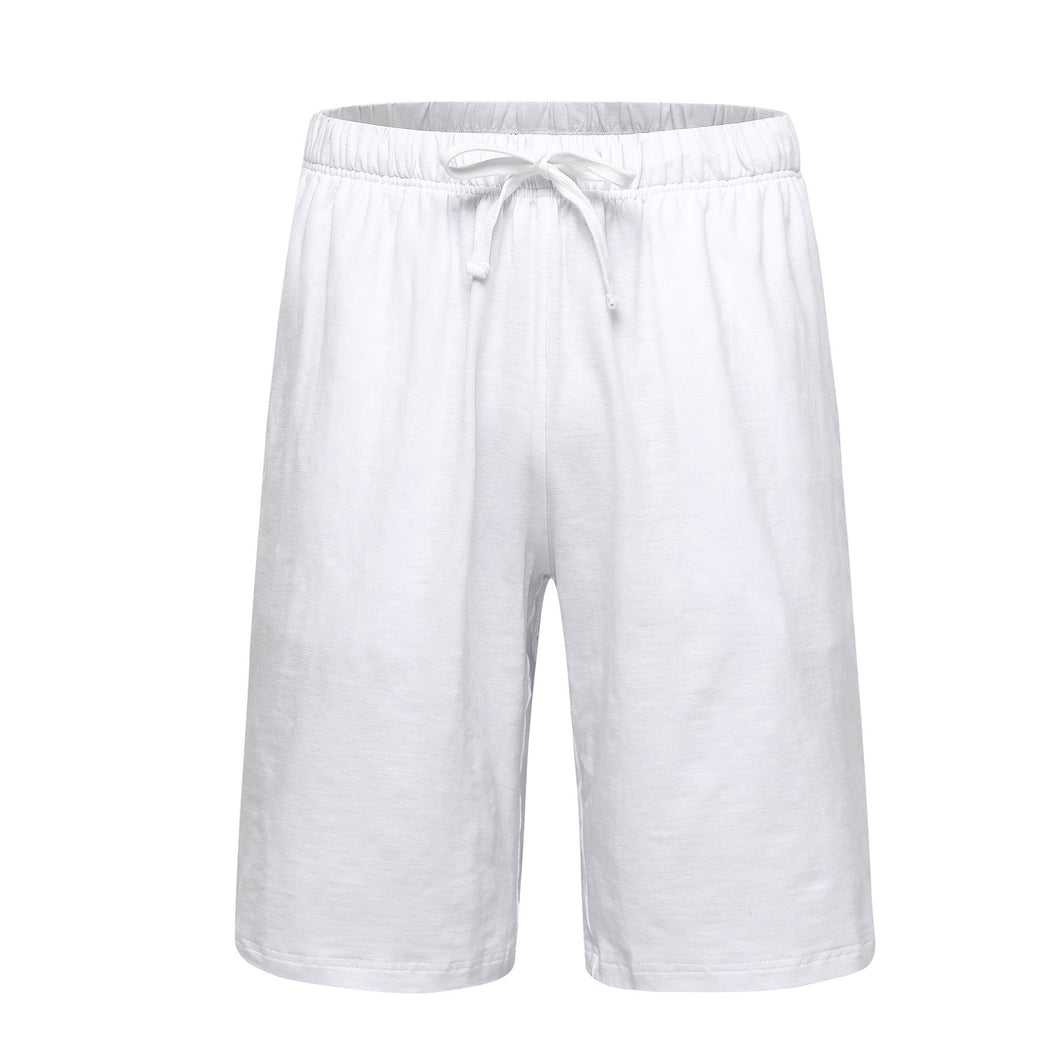 OThread & Co. Men's Cotton Pajama Shorts Loose Lounge Shorts Soft Sleepwear Pants (Medium, White)