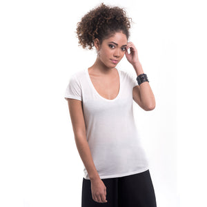 TRUTH ALONE Women's Deep Scoop Neck Tee, 100% Organic Peruvian Pima Cotton White
