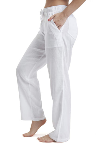 J & Ce Women's Gauze Cotton Beach Pants with Pockets (White, XL)