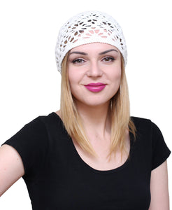 NFB Cotton Hats for Women Ladies Summer Beanie Lace Cloche Hair Accessories Cap (White)