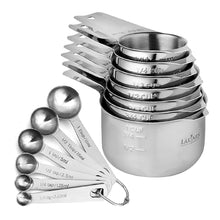 Load image into Gallery viewer, 13 Piece Measuring Cups And Spoons Set, Sturdy & Stainless Steel 7 Measuring Cups and 6 Measuring Spoons, Stackable, By Laxinis World