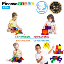 Load image into Gallery viewer, PicassoTiles 60 Piece Set 60pcs Magnet Building Tiles Clear Magnetic 3D Building Blocks Construction Playboards - Creativity beyond Imagination, Inspirational, Recreational, Educational, Conventional