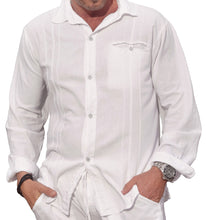 Load image into Gallery viewer, M&B USA Cotton White Long-Sleeve Button Loop Closure Pocket Organic Embroidered Button Down Shirt (X-Large, White)