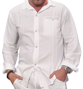M&B USA Cotton White Long-Sleeve Button Loop Closure Pocket Organic Embroidered Button Down Shirt (X-Large, White)