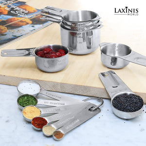 13 Piece Measuring Cups And Spoons Set, Sturdy & Stainless Steel 7 Measuring Cups and 6 Measuring Spoons, Stackable, By Laxinis World