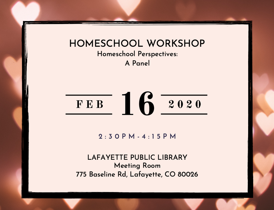 Homeschool Workshop Registration: Homeschool Perspectives - A Panel